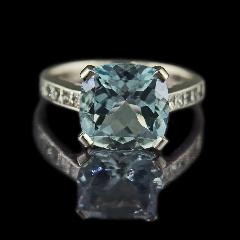 Quot Deep Water Quot Cushion Cut Aquamarine Engagement Ring Flickr