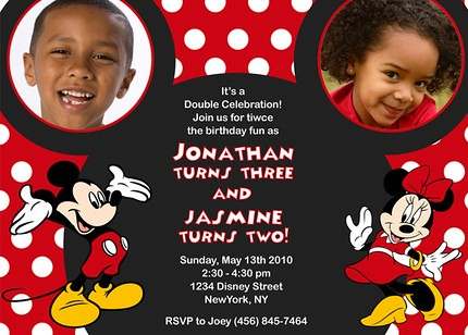 Mickey Minnie Mouse Ear Disney- Custom Birthday Invitation ...
