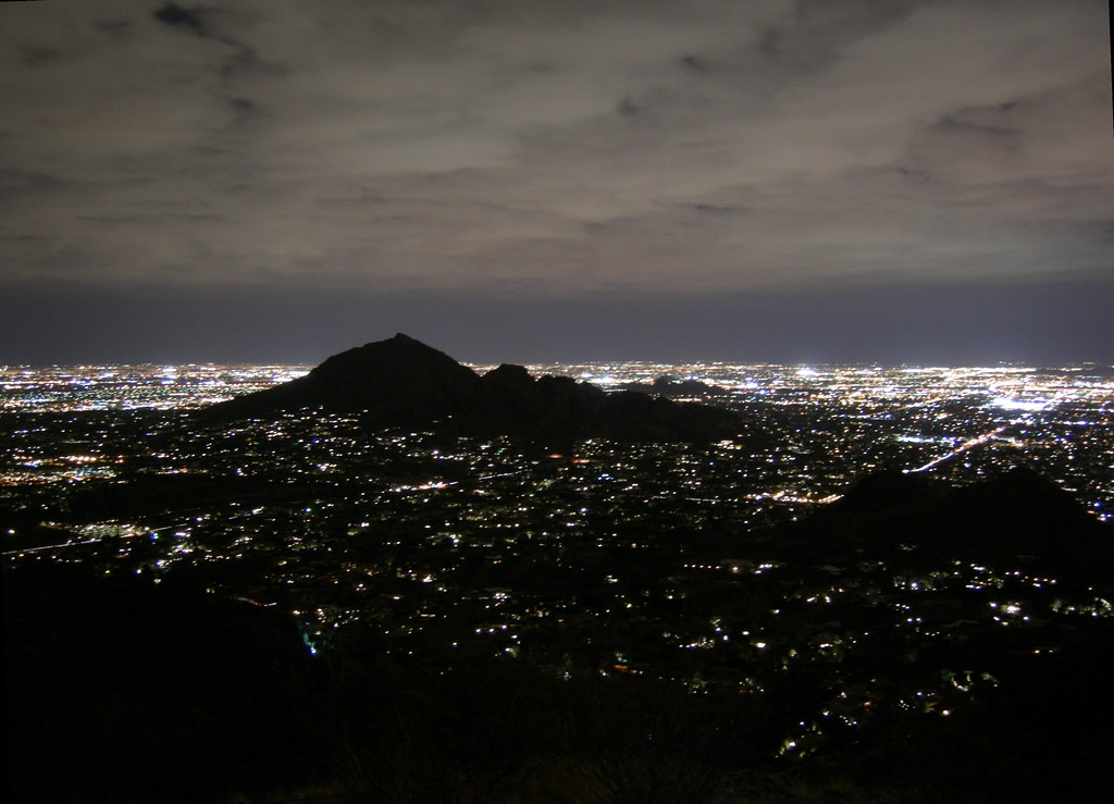 Camelback Mountain At Night With Low Clouds It Had Been