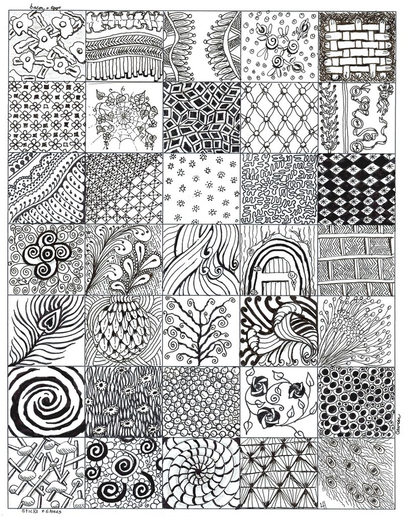 My Zentangle Bits 02 After My First 4 Zentangles Here Is