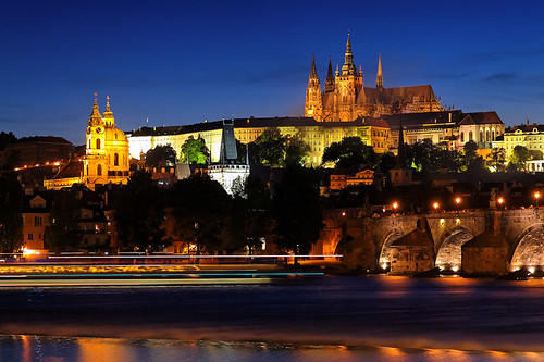 Boat Traffic Under the Prague Castle at Dusk ~ Prague, Czech Republic | by Martin Sojka .. www.VisualEscap.es