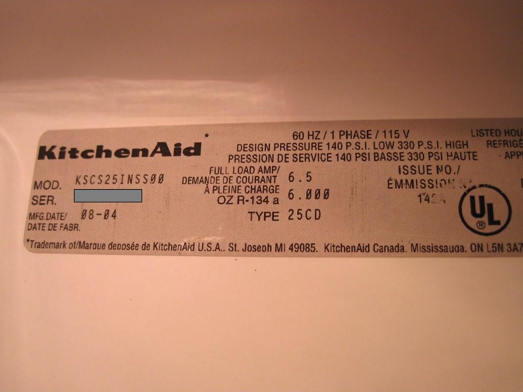 Kitchenaid Refrigerator Model Number Tag Tag Located