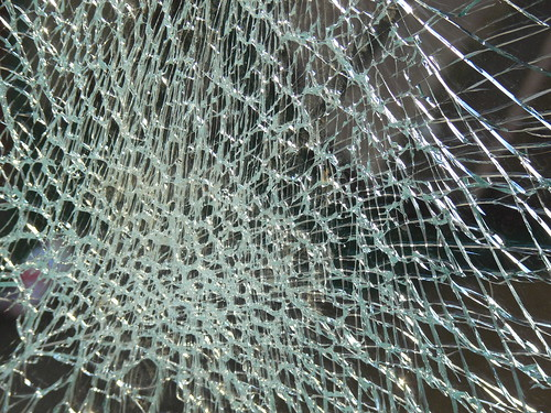 Shatter Toughened Glass On Vandalised Bus Shelter By
