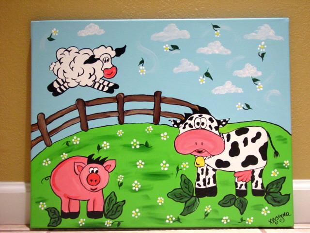 Farm Yard Animals Painting On Canvas Kids Wall Art Nursery