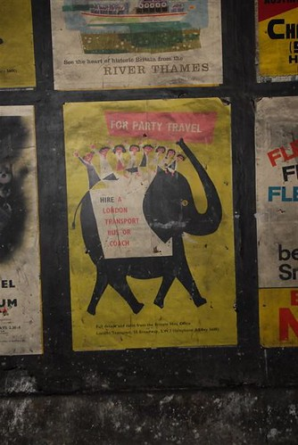 "London Transport ""For Party Travel"" poster by Victor Galbraith, 1958 as found in disused area of Notting Hill Gate tube station, London, 2010"