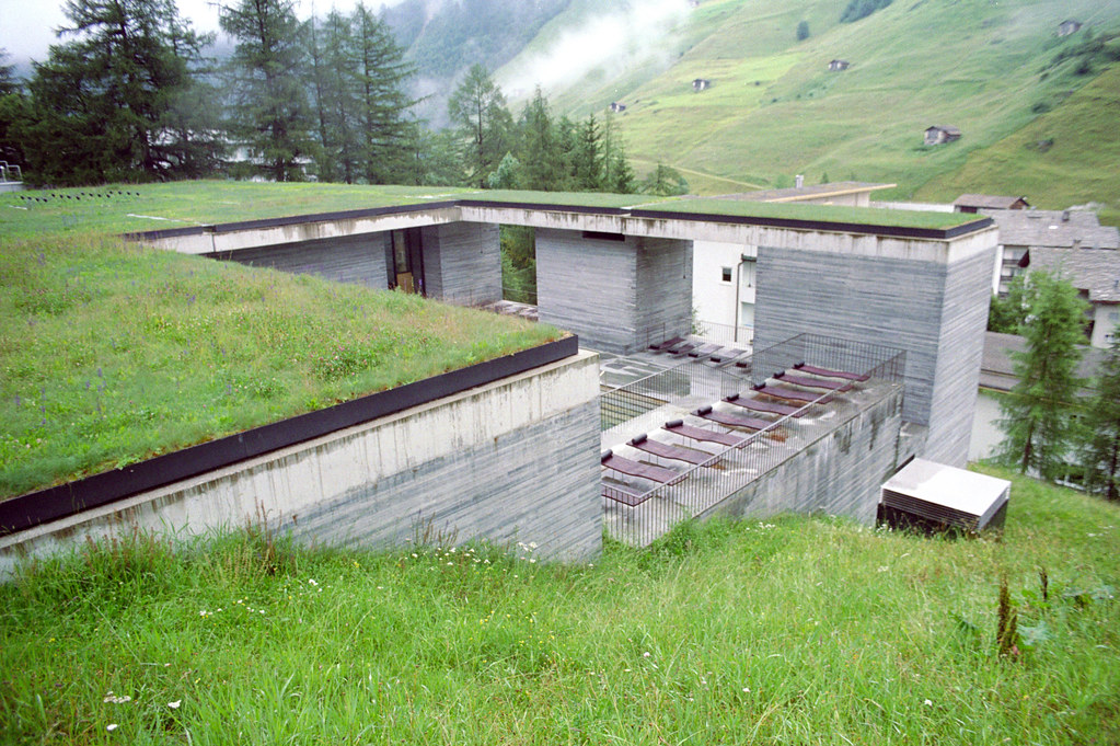 Therme Vals Exterior Showing Pool Courtyard Addison