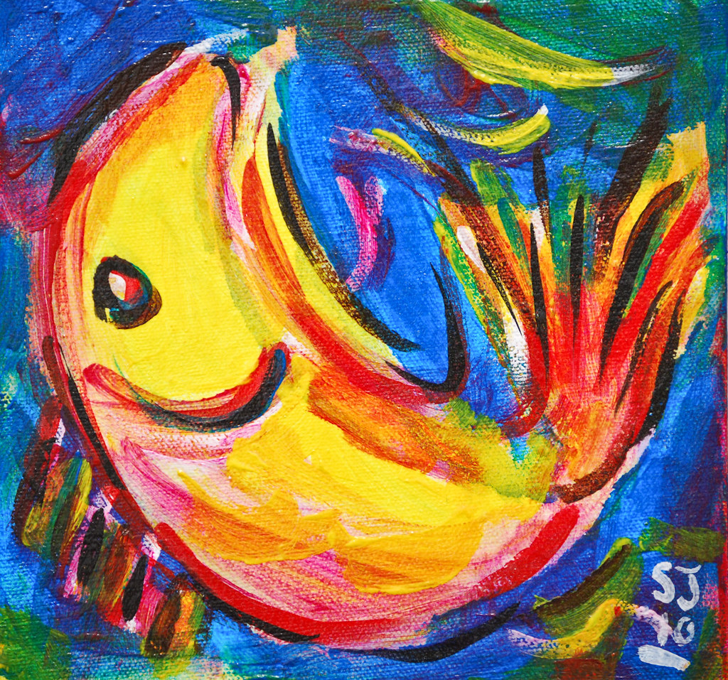 Fish very small paintings to sell at local farmer 39 s for Small paintings that sell
