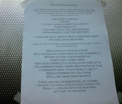 Some suggestions for elevator small talk | by passiveaggressivenotes