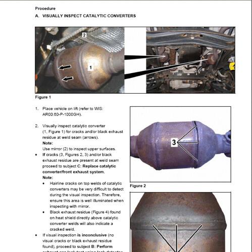 Mercedes document explaining procedure in identifying faul for Mercedes benz catalytic converter recall