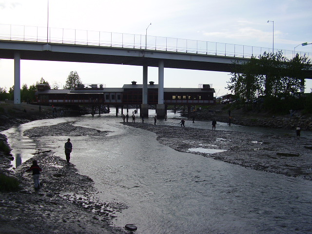 Salmon fishing on ship creek in anchorage freewill057 for Salmon fishing anchorage