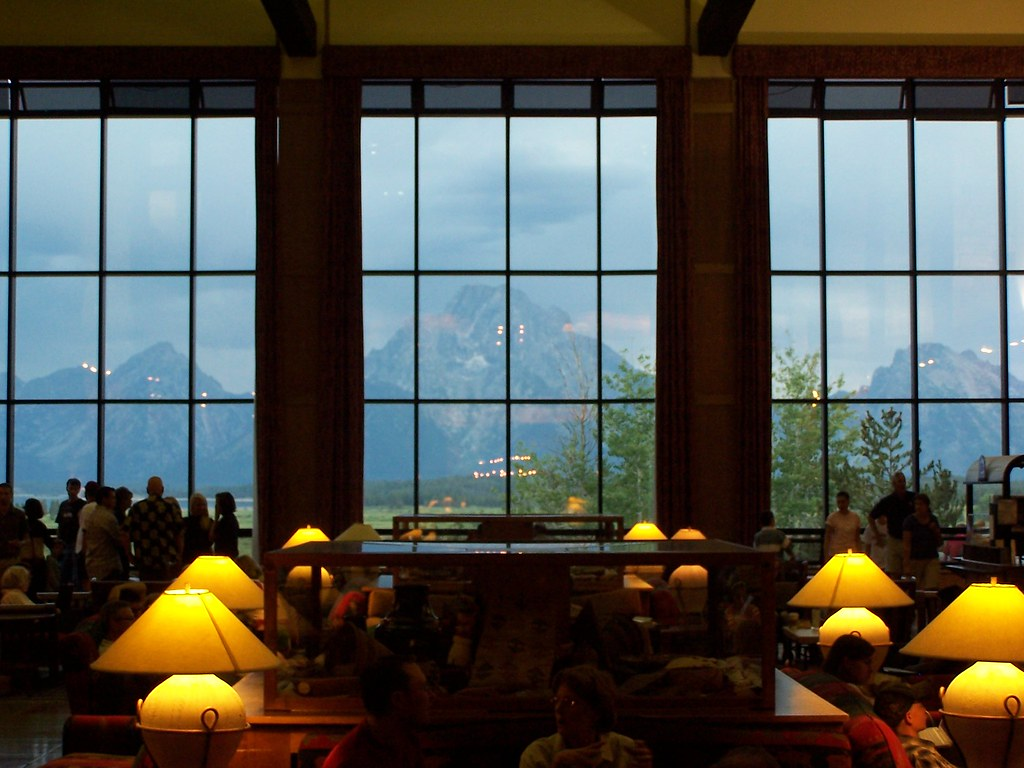 Jackson Lake Lodge lobby view | This is a shot taken from ...
