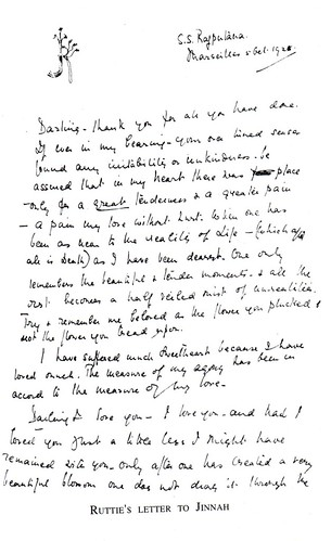 Ruttie Jinnah's last letter to her husband -I | by Doc Kazi
