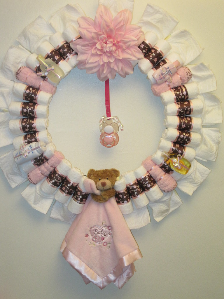 Sweet Pea Diaper Wreath Decorated Made With 42 Pampers