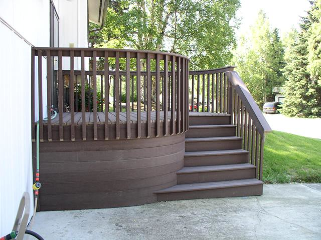 Deck design ideas trex cedar hardwood alaskan0116 this for Front porch deck designs