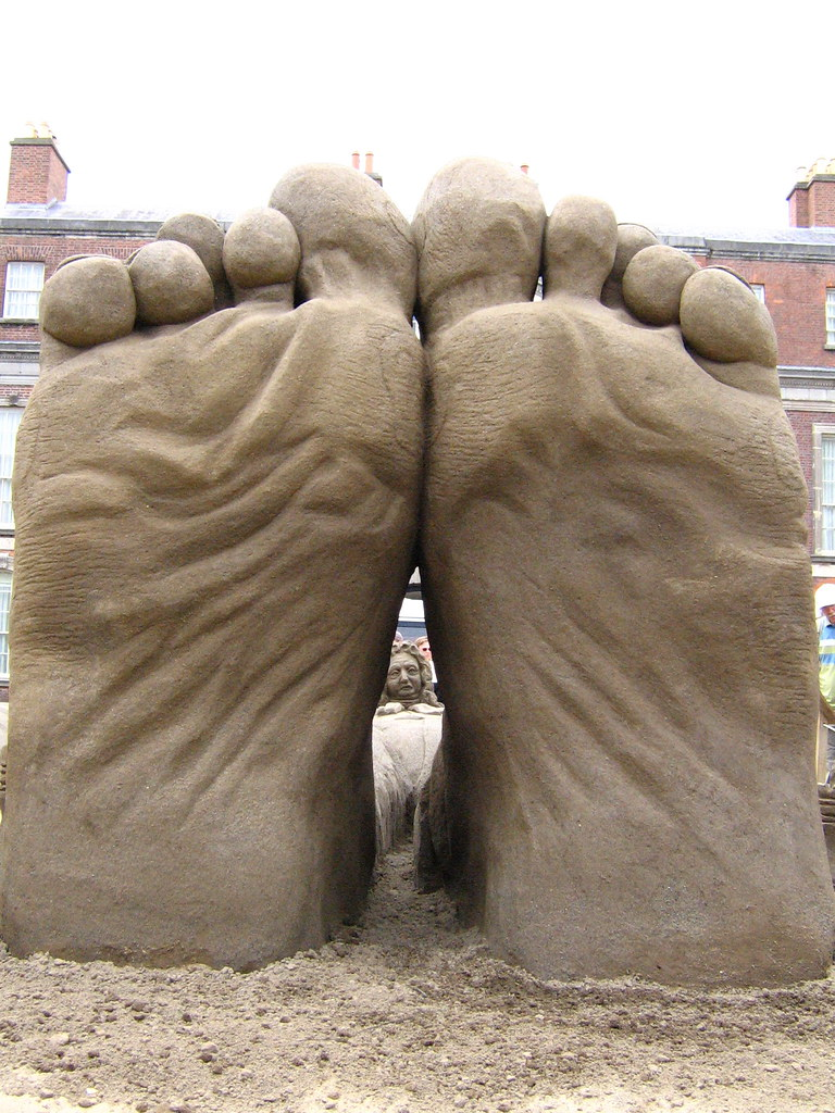 big feet small head sand sculpture at dublin castle