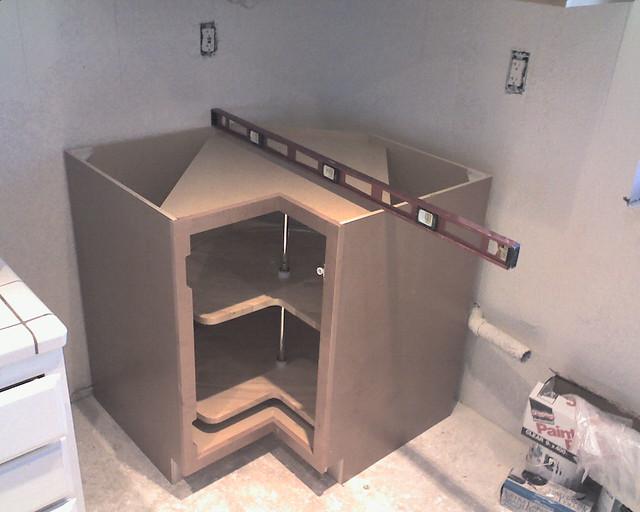 Installing corner base cabinet with LAZY susan | slworking2 | Flickr
