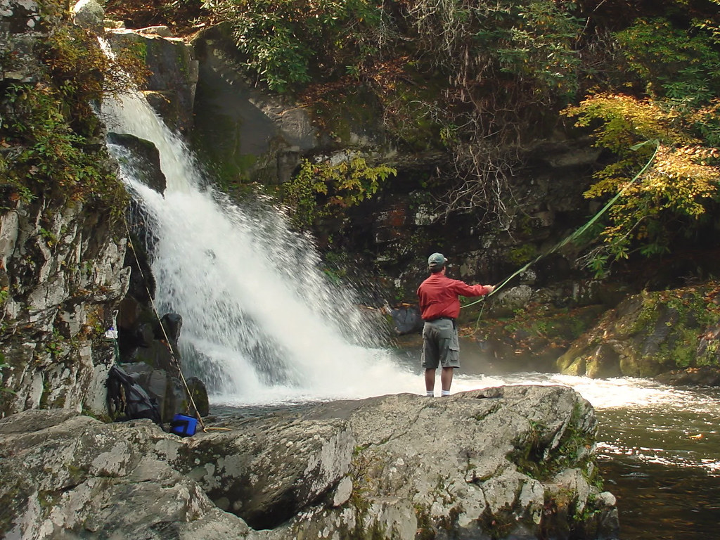 A man fly fishing at cades cove falls tennessee a man for Fishing in gatlinburg tn