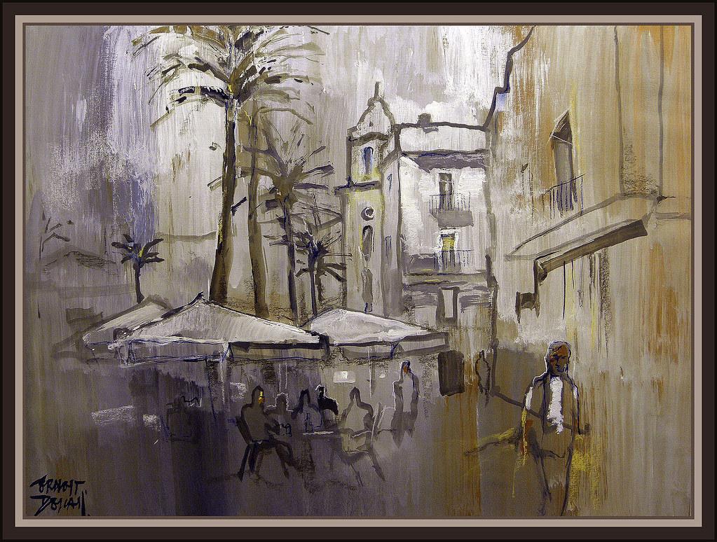 Cadiz plaza catedral andalucia cuadros pinturas ernest des - Cuadros para bares ...