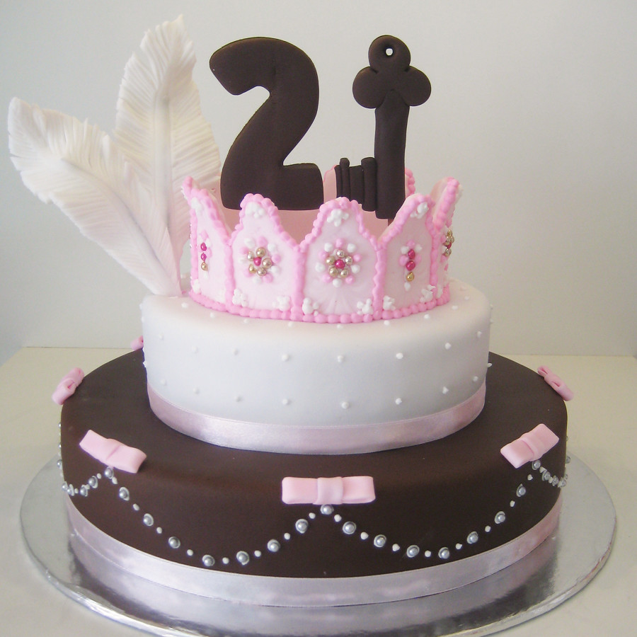 Pink And Brown 21st A 21st Birthday Cake With A Pink