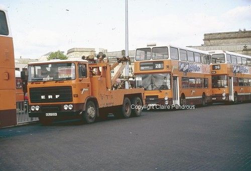 GMPTE ERF recovery truck at Bolton Bus Station on 21st May 1987 | by Lady Wulfrun