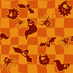 Halloween Background Tile Spiders Ghosts Cats And Bats