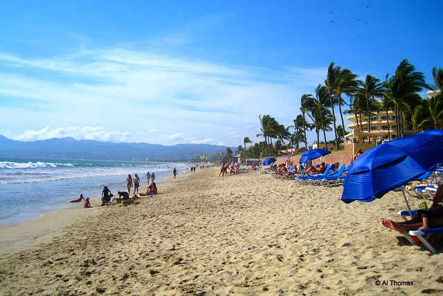 the beach at riu vallarta looking north the wind is
