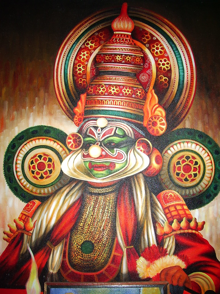 Kathakali painting a famous character of the kathakali for A mural is painted on a