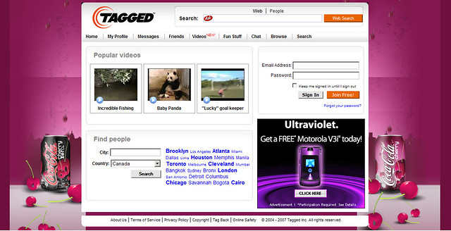 Tagged Messages: Tagged.com Home Page: Background Advertising