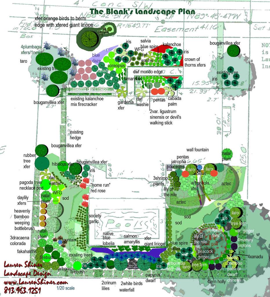 Tampa landscape design tropical garden brick patio for Landscape design tampa