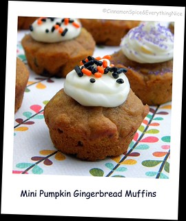 Mini Pumpkin Gingerbread Muffins w/ Orange Cream Cheese Frosting | by CinnamonKitchn