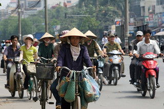 Bicycle and motorcycle traffic in Hanoi | by World Bank Photo Collection