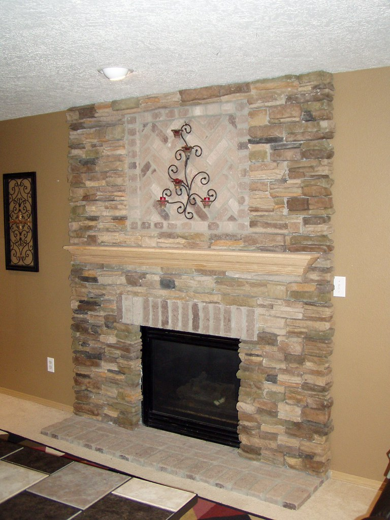 Stone veneer fireplace face baker masonry llc 503 539 679 - Covering brick fireplace with tile ...