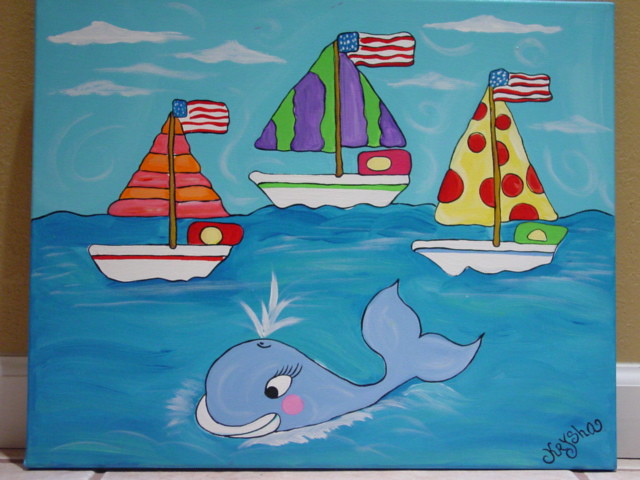 Ocean Sail Boats With Whale Painting Kids Wall Art Nursery