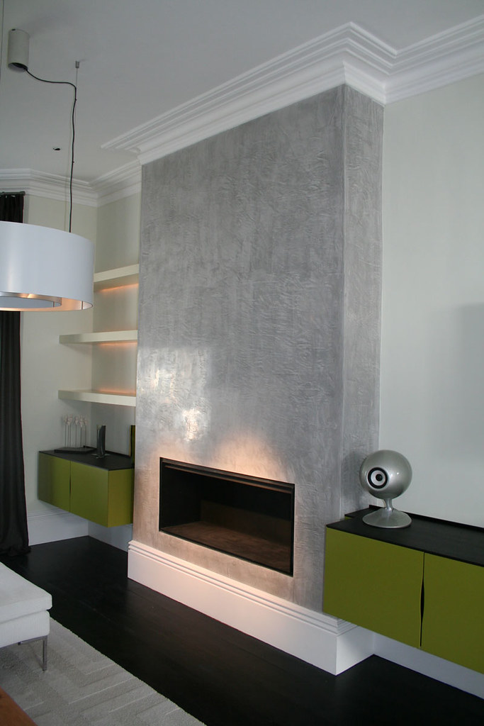 Grey lucidato polished plaster chimney breast grey for Tiled chimney breast images