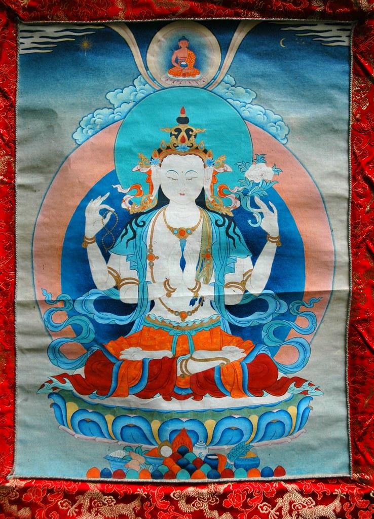 Chenrezig Thangka Avalokiteshvara Bodhisattva Of Compass