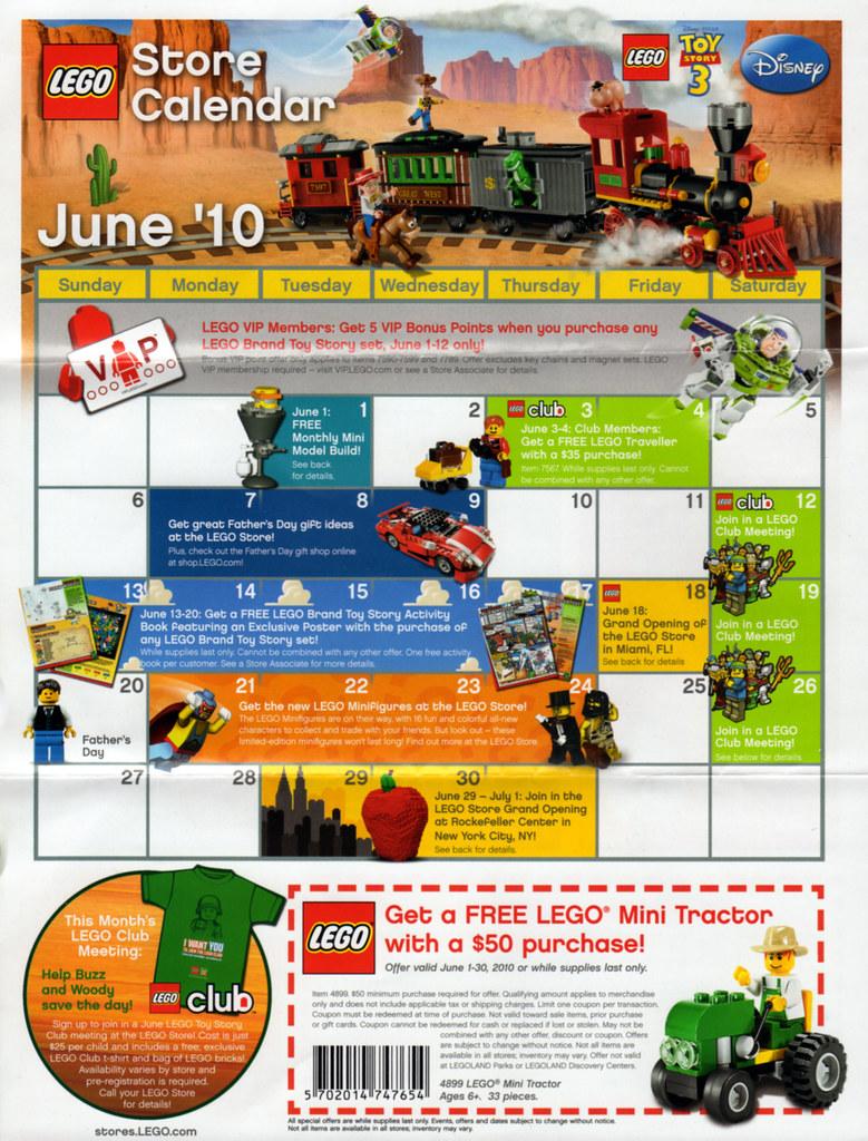 Calendar Lego June : Lego store calendar june front us