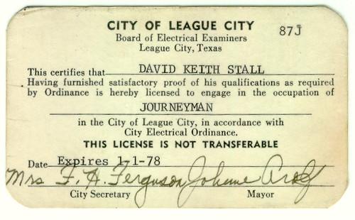 Journeyman Electrician S License League City Tx A City