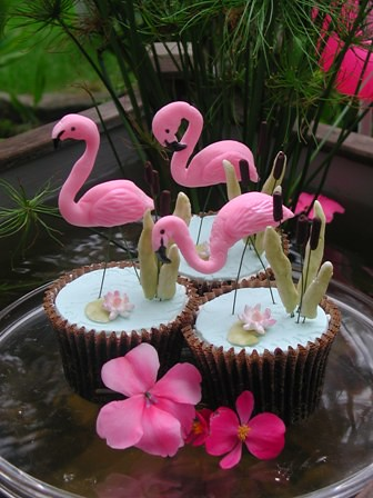 Flamingo Cupcakes Decorations Hand Modeled From Fondant