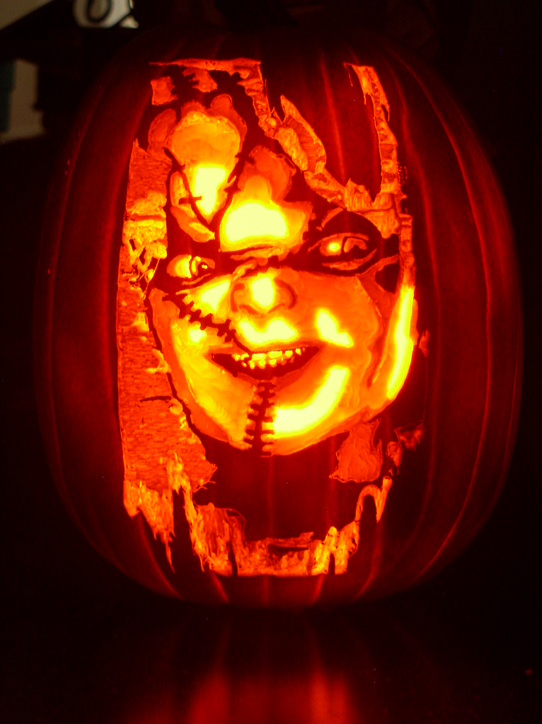 Chucky pumpkin carving for halloween mark ratliff