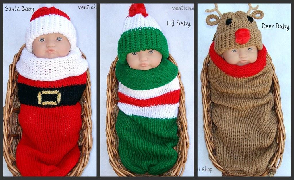Santa Elf Reindeer Baby Knit Seed Pod Cocoon Plus Hat Gr
