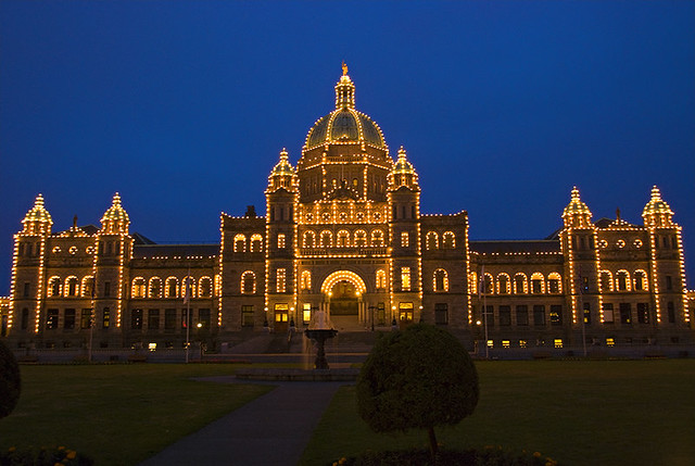 Night Vision  Parliament Buildings In Victoria