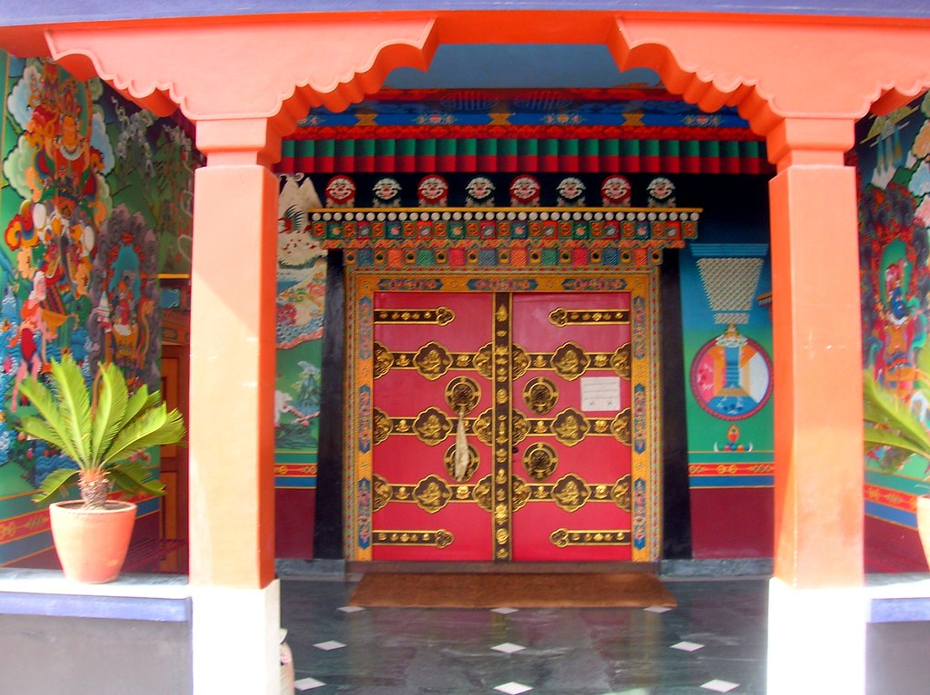 Red Door Tibetan Buddhist Kopan Monastery Doors With Man