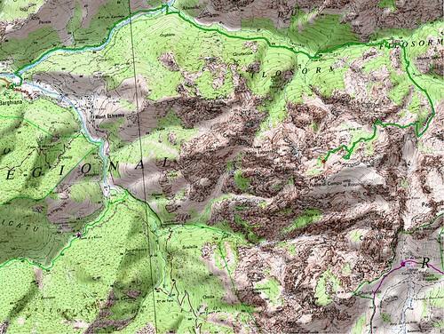 Carte du trek Laoscella - Scaffone du 8 au 10/07/2007