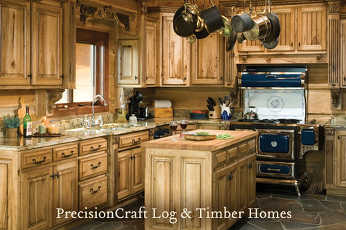 Custom design by precisioncraft log homes kitchen view for Log home kitchens gallery