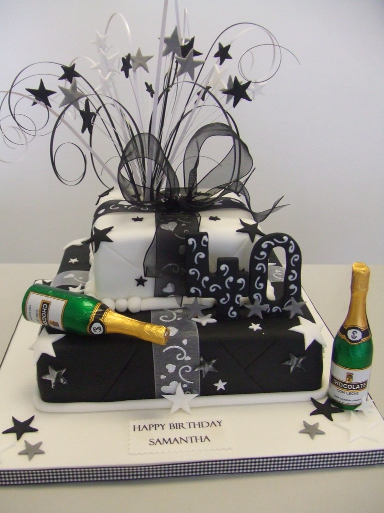 Cake Black And White 40th 2 Tier Parcel For A 40th By