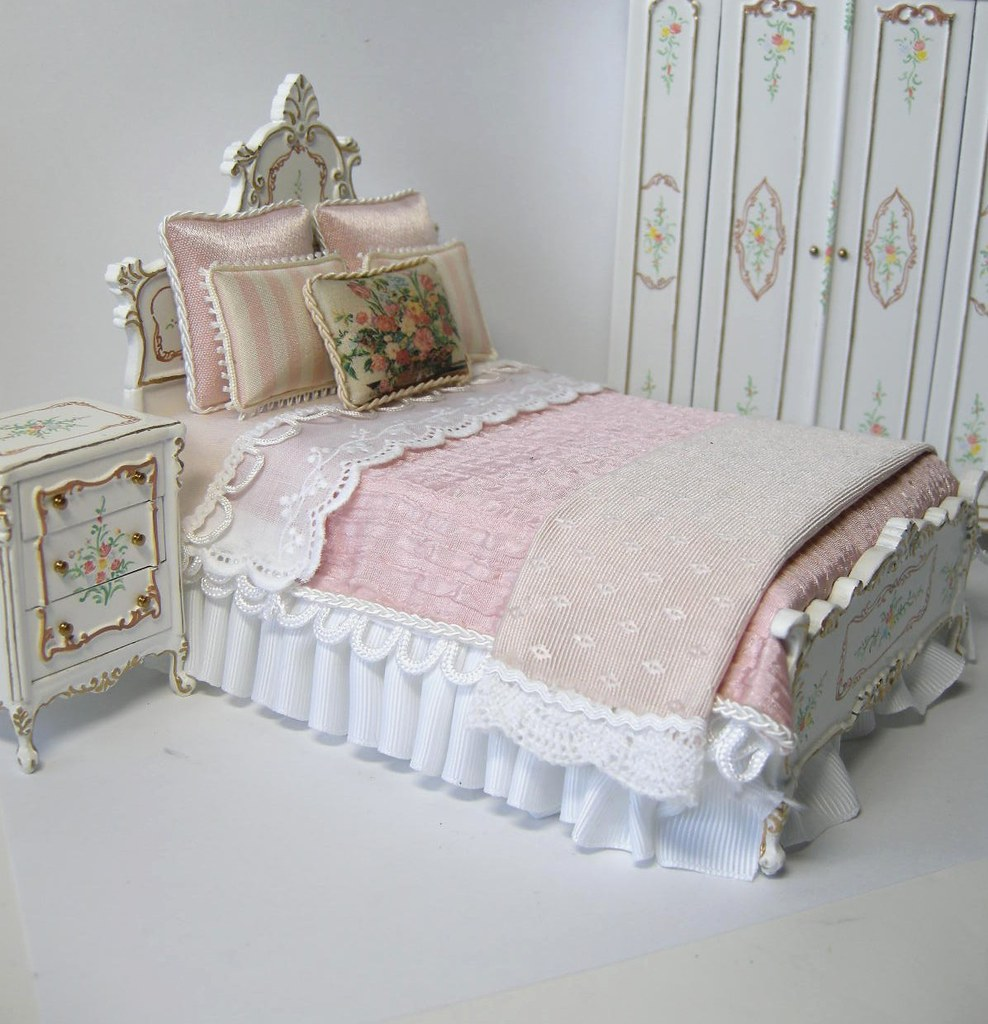 Dollhouse Miniature Bedroom Set A Custom Dressed
