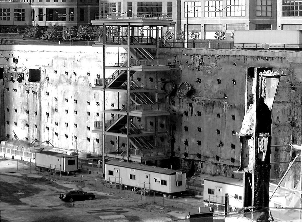 Slurry Wall Construction : World trade center slurry wall and steel beam manhattan