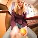 Jacqueline, peeling mango