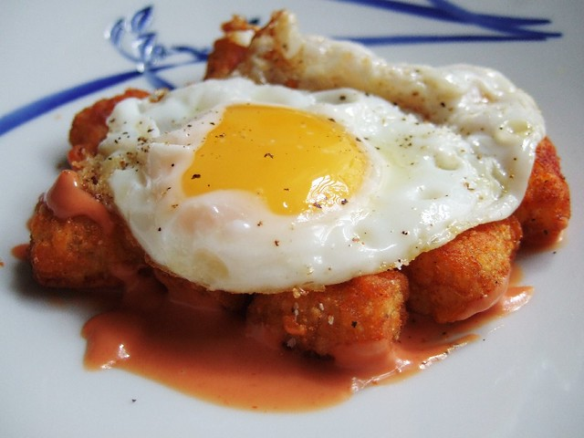 spanish egg | spanish fried egg tater tot bravas | Mr ...