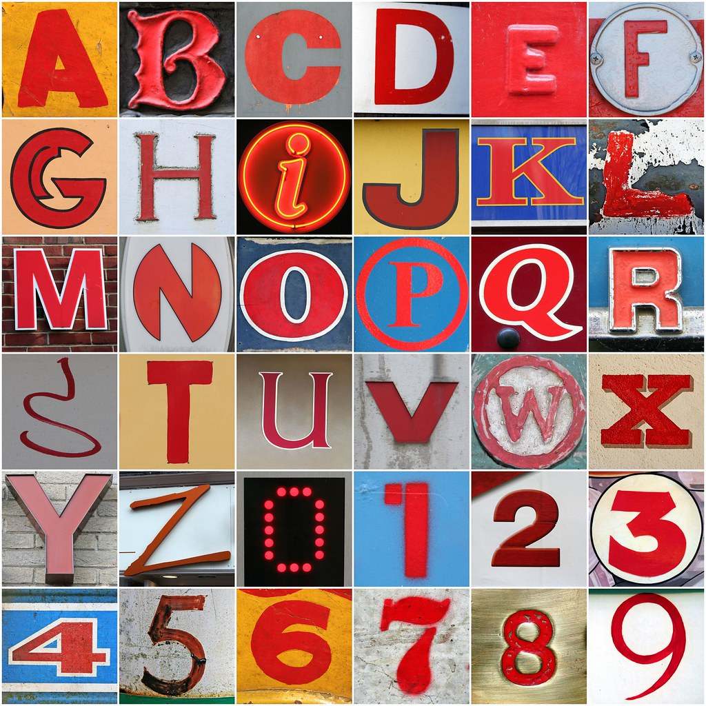 Red letters and numbers | 1. A, 2. B, 3. C, 4. D, 5. E, 6 ...